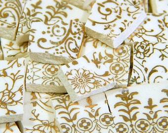 China Mosaic Tiles - ViCToRiAN IVoRY and 22 kt GOLD - 150 Mosaic Tiles