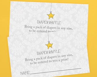 Printable twinkle star diaper raffle invitation inserts, twinkle twinkle little star baby shower, matching printable, instant download pdf