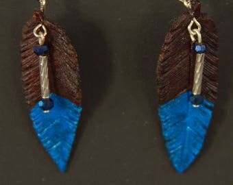 Mahogany & Blue Leather Feather Earrings