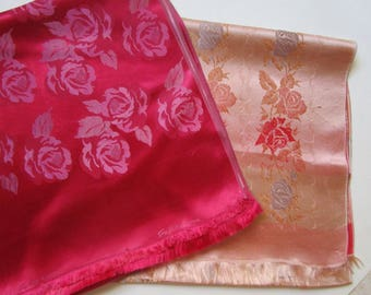 2 Brocade Jacquard Satin Neck Scarf Vintage 60s Saks French Fuchsia Roses