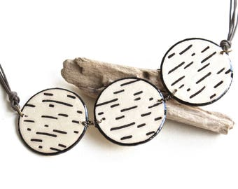 Wood Circles Bib Necklace, Big Bold Birch Tree Statement Necklace, Large Geometric Collar Necklace, Unique Wooden Necklaces for Women