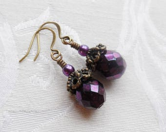 50% Off- Metallic Purple Czech Glass Earrings, Antique Brass
