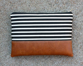 Black and Ivory Striped Canvas Clutch