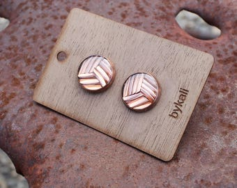 copper scrap post earrings