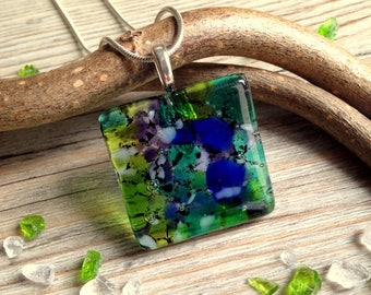 Green and Blue Summer Necklace / Summer Jewellery / Nature Lover Gift / Walk in the Woods / Fused Glass Necklace / Square Pendant Necklace