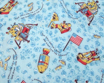 Vintage Moon Landing Fabric - Cotton Flannel Fabric Yardage - Space - Neil Armstrong - Apollo 11 - Moon Walk - 1970s