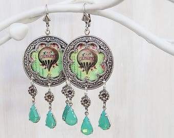 Gypsy Earrings, Green Opal, Hot Air Balloon, Vintage French, Shabby Pink, Pink and green, Boho earrings, Shabby mint green, boho jewelry