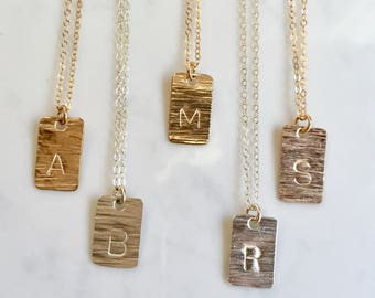 Mini dog tag stamped letter necklace