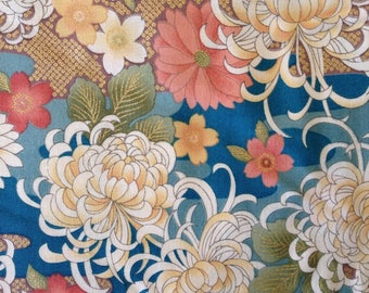 1 Full yard Sevenberry Chrysanthemums and cherry blossoms in teal green, peach, and cream Japanese cotton fabric