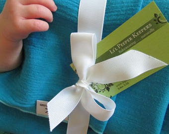 Cotton Gauze Baby Wrap Carrier, Turquoise Blue, Silver, DVD included -  FWCC, baby carrier, baby shower gift, newborn, summer, lightweight