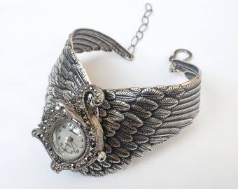 Silver Wings Watch Swan Womens Wrist Watch Bracelet Mother of Pearl Marcasite Watch