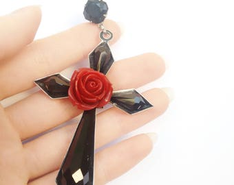 Large Cross Earrings Dangle Long Black Earrings Dramatic Statement Earrings Black Cross Red Rose