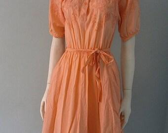 Summer Sale Vintage Sherbet Orange Embroidered Cut Out Summer Dress s m