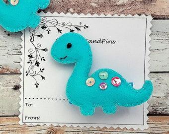 Blue dinosaur hair clip or hair tie, handmade padded dinosaur bobbles, dinosaur barrette, blue dinosaur bobbles,pig tails, single/pairs
