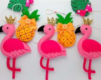 Handmade Flamingo Garland/Bunting Pink Flamingo and Pineapples and Felt Garland/Bunting