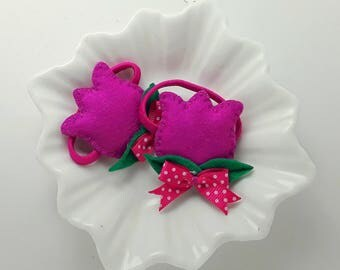 Hair ties - Hair bobbles pair of handmade padded Fuscia Tulips, tulip bobbles, tulip pigtail holders