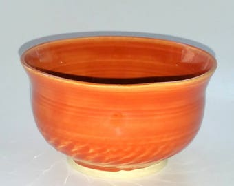 Orange Bowl with Chattered Texturing on the Exterior - Wheel Thrown Pottery