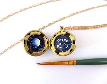 Tiny Oil-Painted Locket, Once in a Blue Moon, Universal Good Luck Necklace