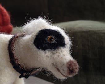 Needle felted dog...'Spike on Wellesley Street'