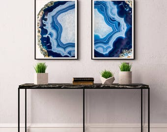 Set of 2 Agate Prints  - Prints (Print #020 and 021) - Fine Art Print - Two Paper Choices- Mineral Geode Agate Crystal Decor