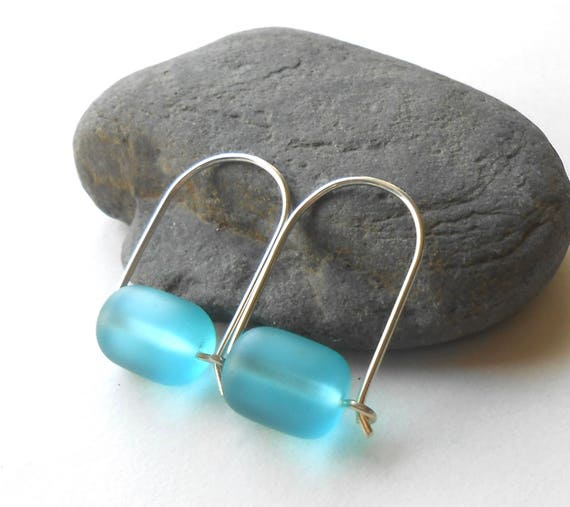 Silve Hoop Earrings With Recycled Beach Glass, Sterling Silver Wire Hoops with Beads, Faux Sea Glass