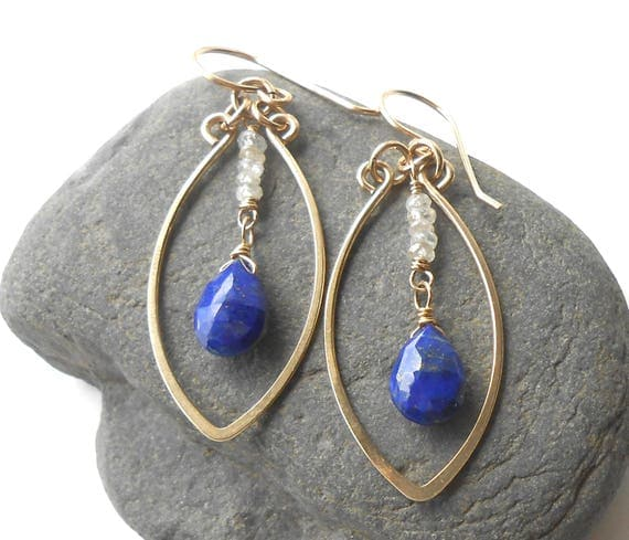 Gold Gemstone Dangle Earrings, Lapis Lazuli and Zircon