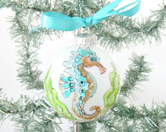 Seahorse Christmas Bulb, Seahorse Xmas Tree Ornament, Handpainted Zentangle Seahorse Ornament, Xmas Ornament, Coastal Beach Christmas Decor