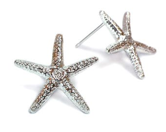 Starfish Earrings - Silver Starfish Earrings - Starfish Jewelry - Beach Jewelry - Starfish Posts - Organic - Andyshouse -Made In Brooklyn