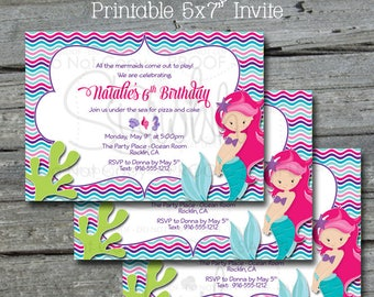 Mermaid Birthday Invite Invitation | Mermaid Party | Beach Party | Summer Party | Under the Sea | Wave printable party digital invite - 5x7