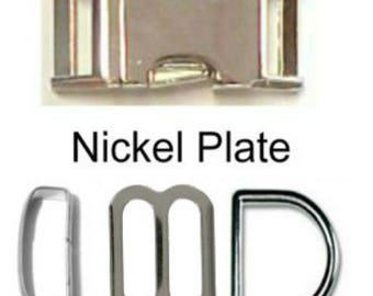 """1 SET - 1"""" Solid Zinc Nickel Plate METAL - WIDE Mouth Heavy Duty Slide Adjuster - Dog Collar Kits - 4 Pieces - 1 inch"""