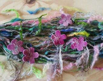 Art yarn handspun Flower Wreath with felted flowers SALE buy 3 get 1 free 2.3 oz. wool  locks tailspun fringe