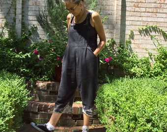 Dipped and Pleated Bib Rompers One Size fits XS-M - short, petite - Women's loose Overalls, cropped leg romper, black bib jumper, baggy bibs