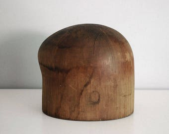 Wood Hat Block, Millinery Hat Form, Industrial Hat Mold, Shop Display, Hat Making Supplies, Rustic Hardwood Mold, Photo Prop, Domke & Ulm