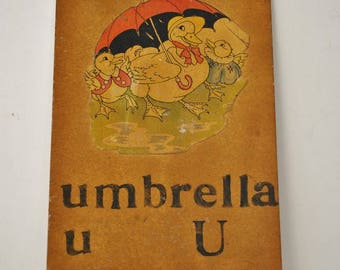 Vintage Teachers Hand Made Flash Cards  U  is for Umbrella    Letter U    Hand Made Flash Card