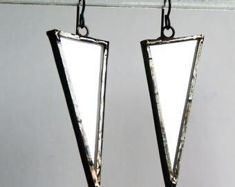 Mirror Earrings, Triangle Mirror Earrings, Glass Earrings, Stained Glass Earrings, Geometric Earring, Modern Earring, minimal earring