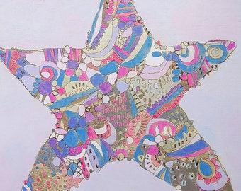 ORIGINAL 'Purple Star' 12x12in starfish painting on wood by Jennifer Mercede