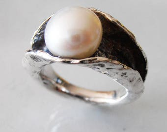 Silver ring.White Pearl Ring, Silver Pearl Ring, Hammered silver  Ring,  Unique  Pearl Ring, Israeli Jewelry, Israeli Rings