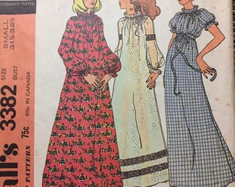 Vintage 1970s  Nightgown  Boho Peasant Sewing Pattern McCall's 3382 Misses'  Size Large  Bust 38-40 Inches Complete