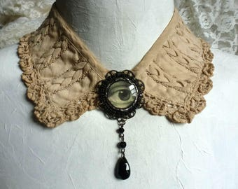 Found, then lost ~ lover's eye on shabby vintage collar ~ repurposed assemblage necklace  ~ OOAK