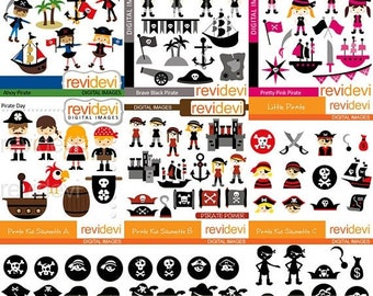 50% OFF SALE Pirate kids clipart big mega bundle - pirate clip art - commercial use digital images, instant download graphics