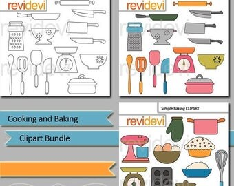 35% OFF SALE Cooking and Baking clipart bundle / kitchen utensils clipart / commercial use digital clip art