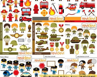 Clipart sale bundle / community service clip art / kids, firefighter, army military soldier, police detective clipart commercial use