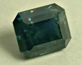 VINTAGE SAPPHIRE Faceted Dark blue-green GEMSTONE emerald cut 2.53 cts fg179