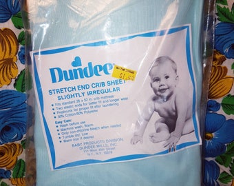 Vintage Dundee Light Blue Crib Sheet New in Package