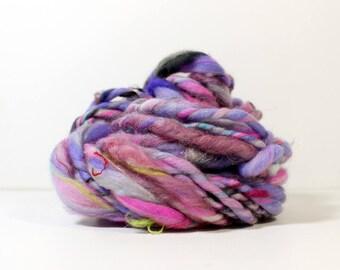 jazzercise .. hand spun art yarn, wool yarn, handspun, soft rainbow knitting wool, weaving, crochet supply