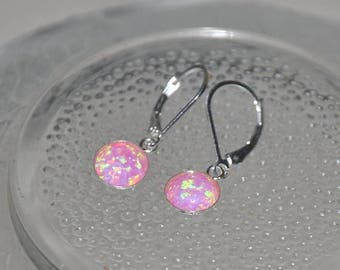 Pink Opal,  Opal Earrings,  Dangle Earrings,  Sterling Silver, Lever Back Earwire, 8mm Stone, Opal Jewelry