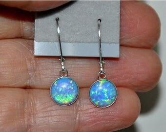 Opal Earrings,  Dangling Earrings, Sterling Silver Earrings,  Sterling Silver,  Lever Back, 8mm Stone,  Blue Opal, Opal Jewelry