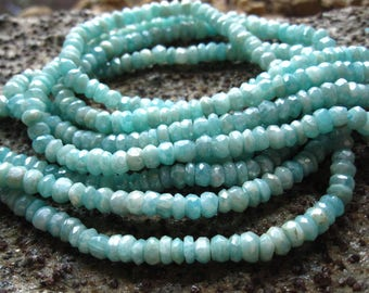 Amazonite beads Diamond Finish faceted rondelles - semiprecious gemstone beads - 4mm X 3mm