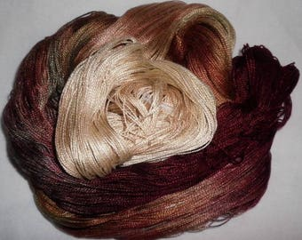 Hand dyed Tencel Yarn - 6/2 Tencel Lace Wt. Yarn  STARBUCKS - 630 yards