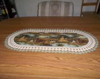 Crocheted Hunting Dogs Table Runner Fabric Center Crocheted Edging